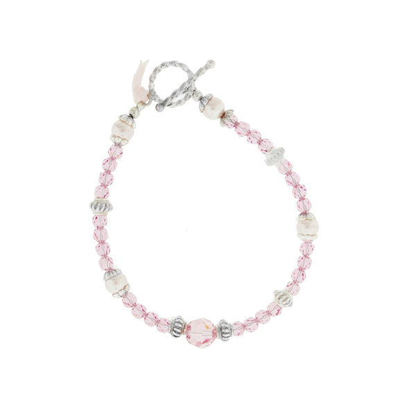 Bracelet with Pink Swarovski Crystals and Pearls
