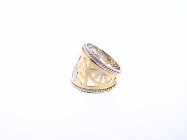 Cigar Ring with Sunburst Pattern in Two-Tone 14K Gold