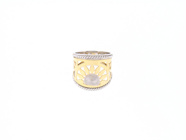 Cigar Ring in 14K Gold with Sunburst Pattern