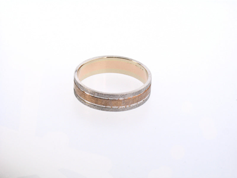 14K Two-Tone Brushed Finish Gold Band