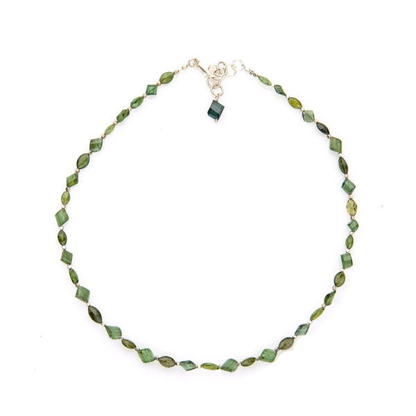 Green Faceted Tourmaline Necklace