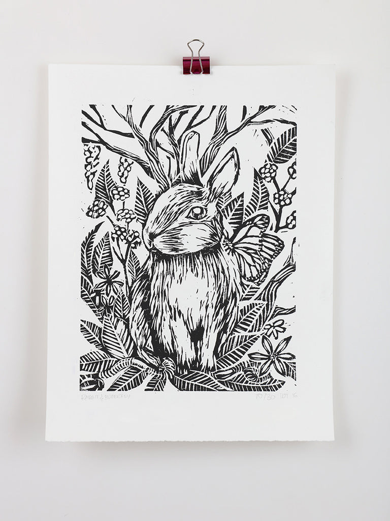 Rabbit & Butterfly Linocut