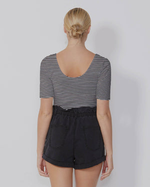 Sass  - Joss Top Black White Stripe