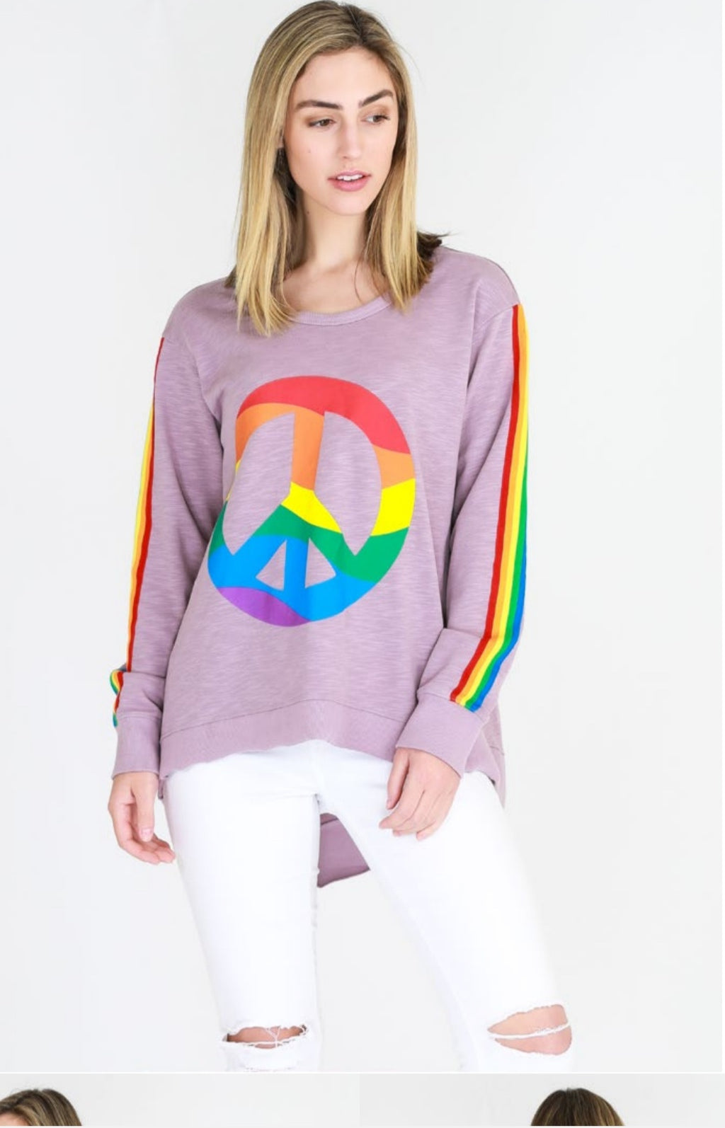 3rd Story The Label // Rainbow Peace Sweater Lilac