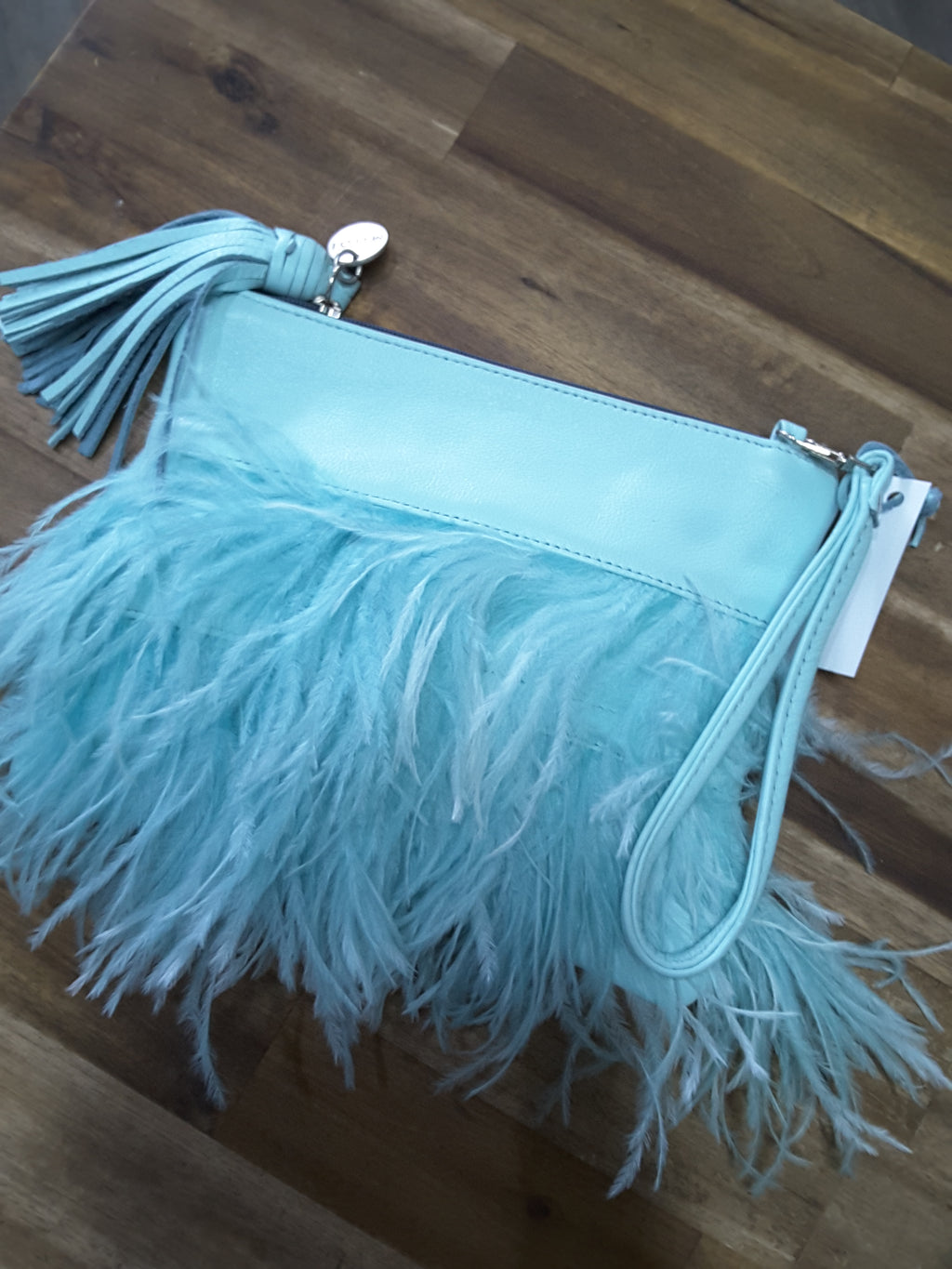 Mooi - Lulu Aqua Feather  Clutch