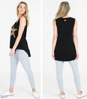 Leopard Star Tank Black