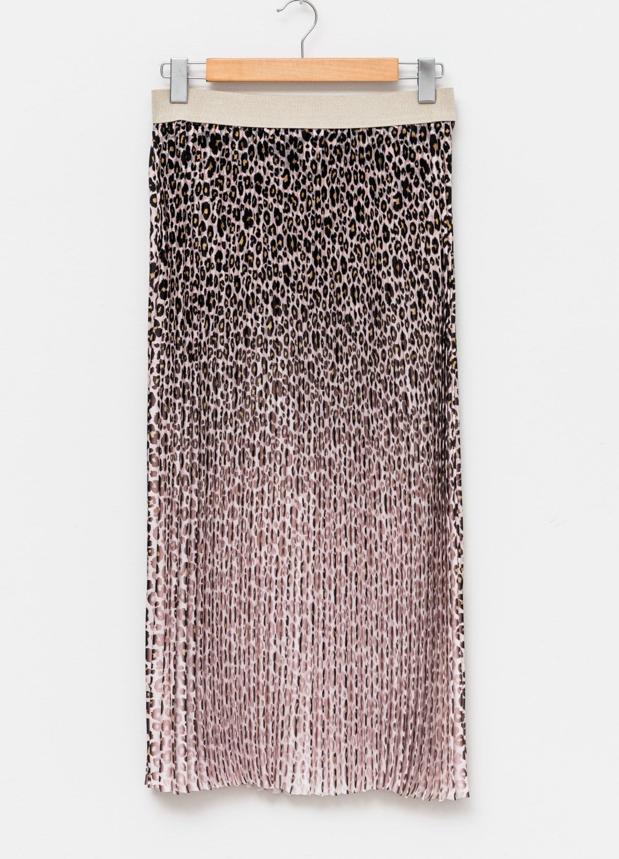 Ombre Pleated Skirt Pink Leopard