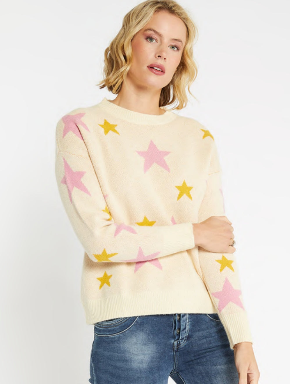 Two Tone Star Knit Cream