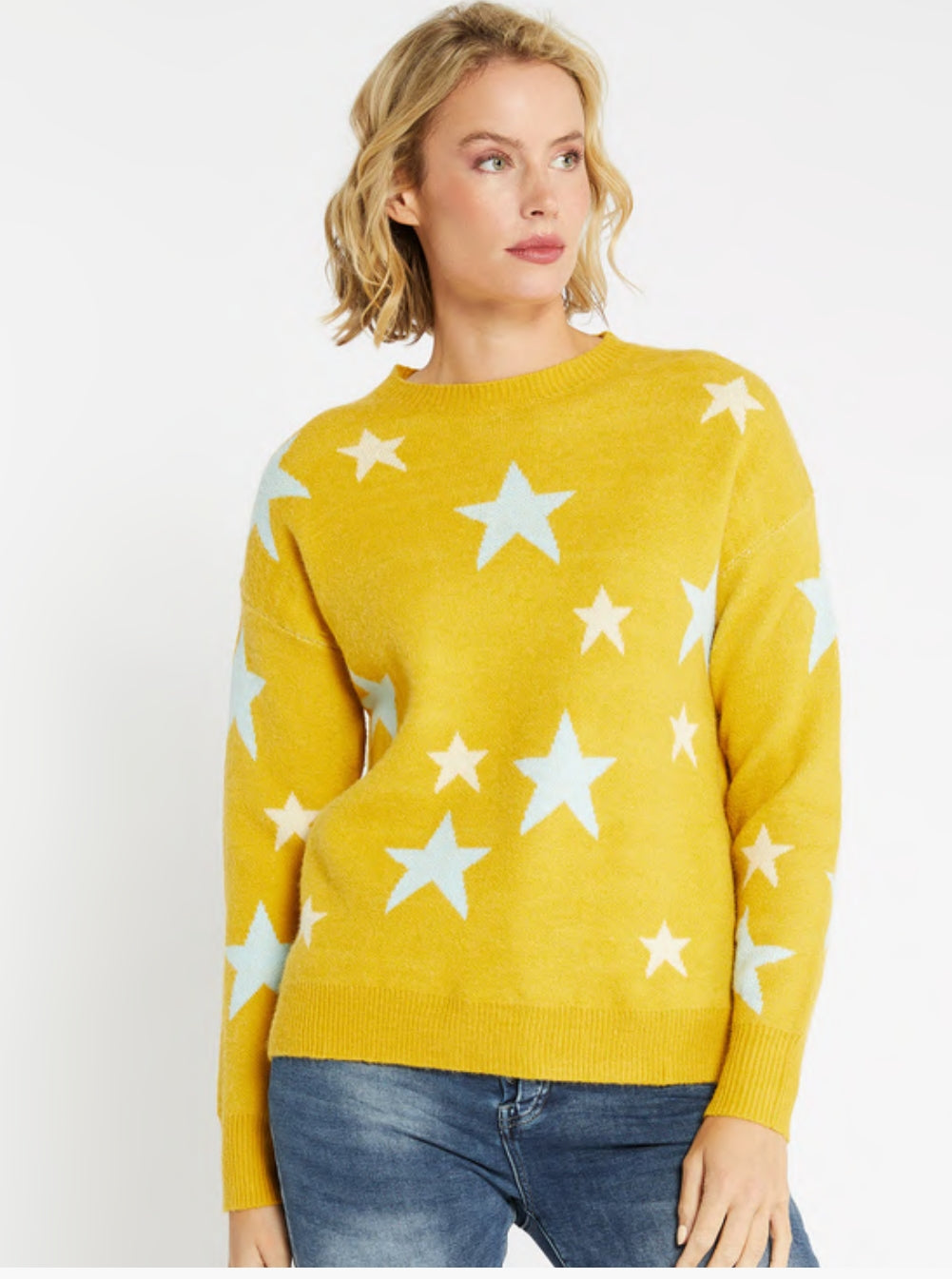 Two Tone Star Knit Mustard