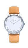 Kapten and Son Watch 40mm Campus Silver cognac leather