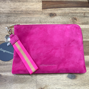 Arlington Milne - Paige Clutch with Wristlet // Hot Pink Suede