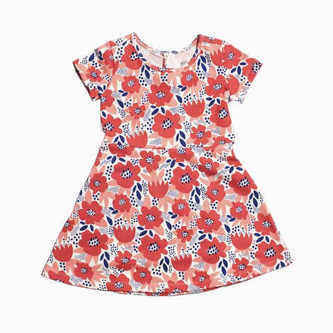 casablanca dress (flower garden coral)