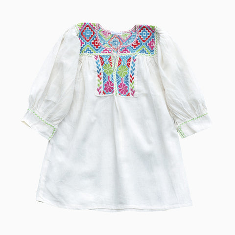 ¾ sleeve embroidered dress (multi)