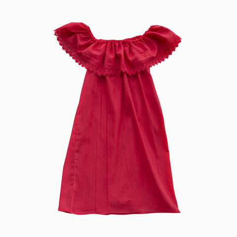 off shoulder dress (red)