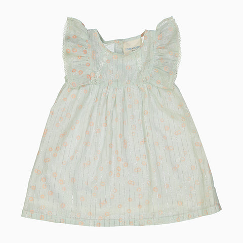 baby pompadour dress (silver lurex stripes)