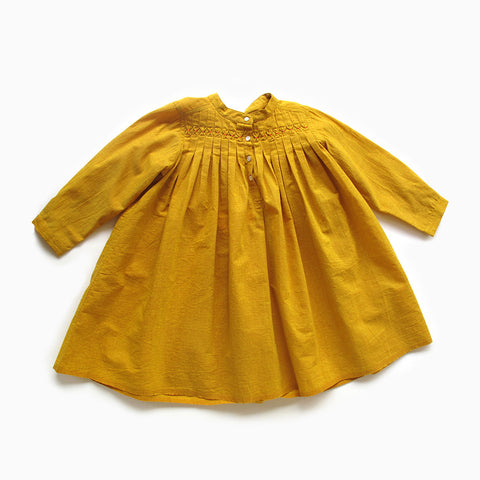 gathered mustard handloom dress