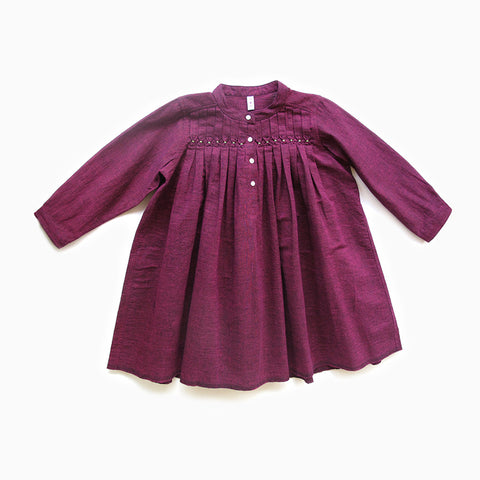 gathered purple handloom dress