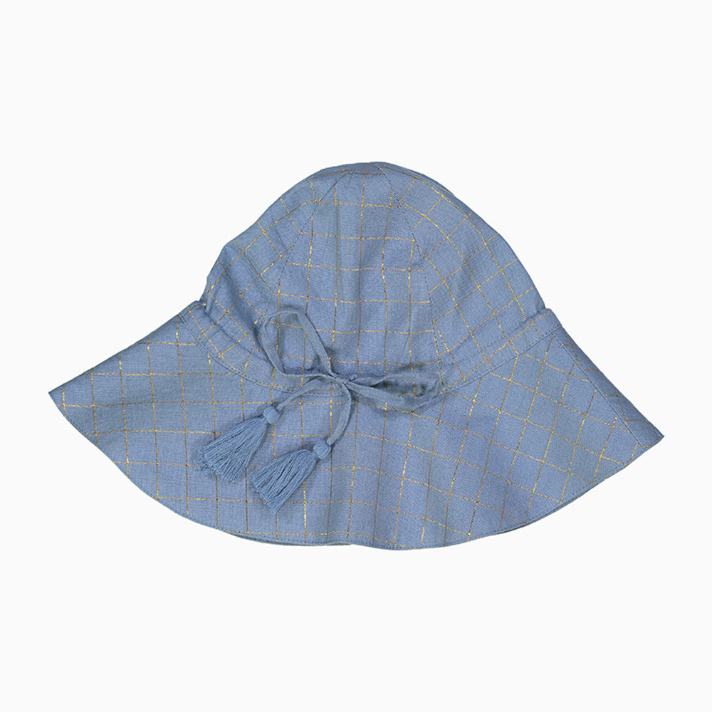 baby colette hat (check gold lurex light blue)