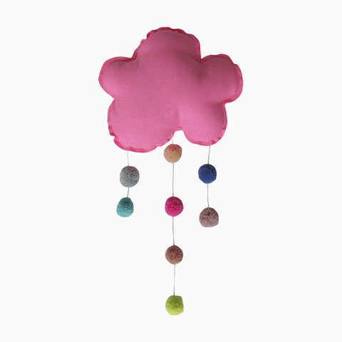 pompon cloud mobile (neon pink)