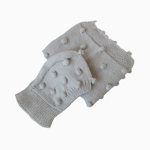 cozy popcorn baby blanket & hat set (cream)