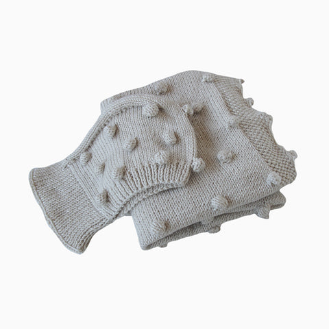 cozy popcorn baby blanket & hat set (light beige)