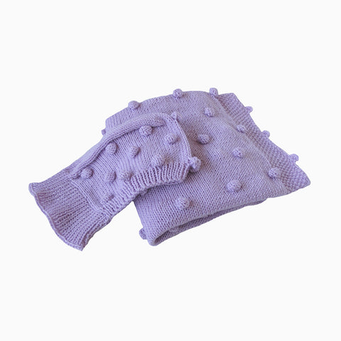 cozy popcorn baby blanket & hat set (purple)
