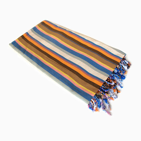 beach towel (tan and blue)