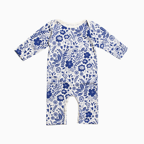 long sleeve baby romper (wildflowers blue)