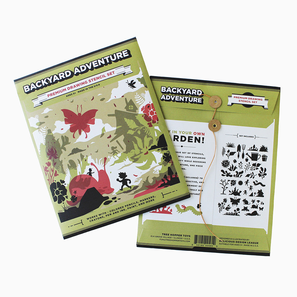 backyard adventure stencil set