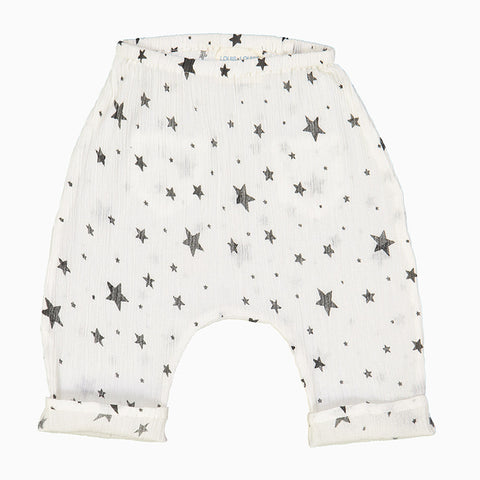 baby jungle trousers (white and black stars)