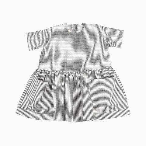 short sleeve pocket dress (striped)