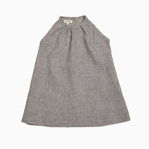 sleeveless a-line dress (checked linen)