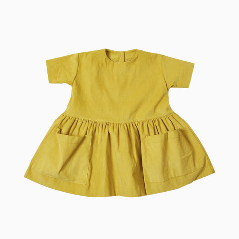 short sleeve pocket dress (yellow)