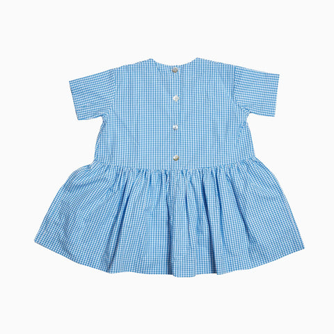 short sleeve pocket dress (blue gingham)