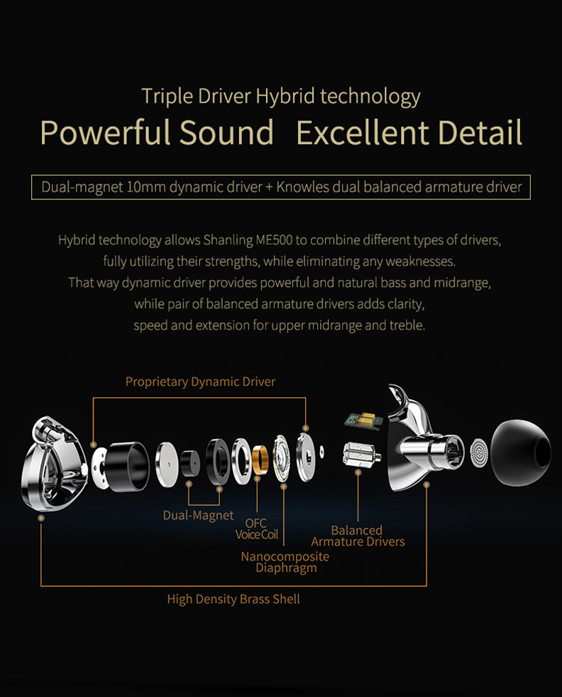 Shanling ME500 Hi-Fi in-Ear Monitors with Interchangeable Cable - MusicTeck
