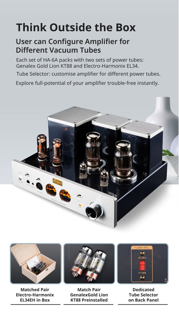 Cayin HA-6A EL34/KT88 Vacuum Tubes, Headphone Amplifier