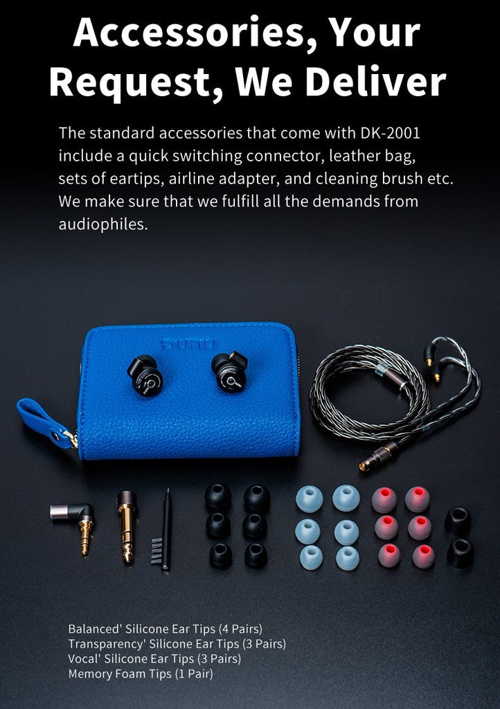 DUNU DK 2001 3BA +1DD Hybrid Drivers In Ear Earphone