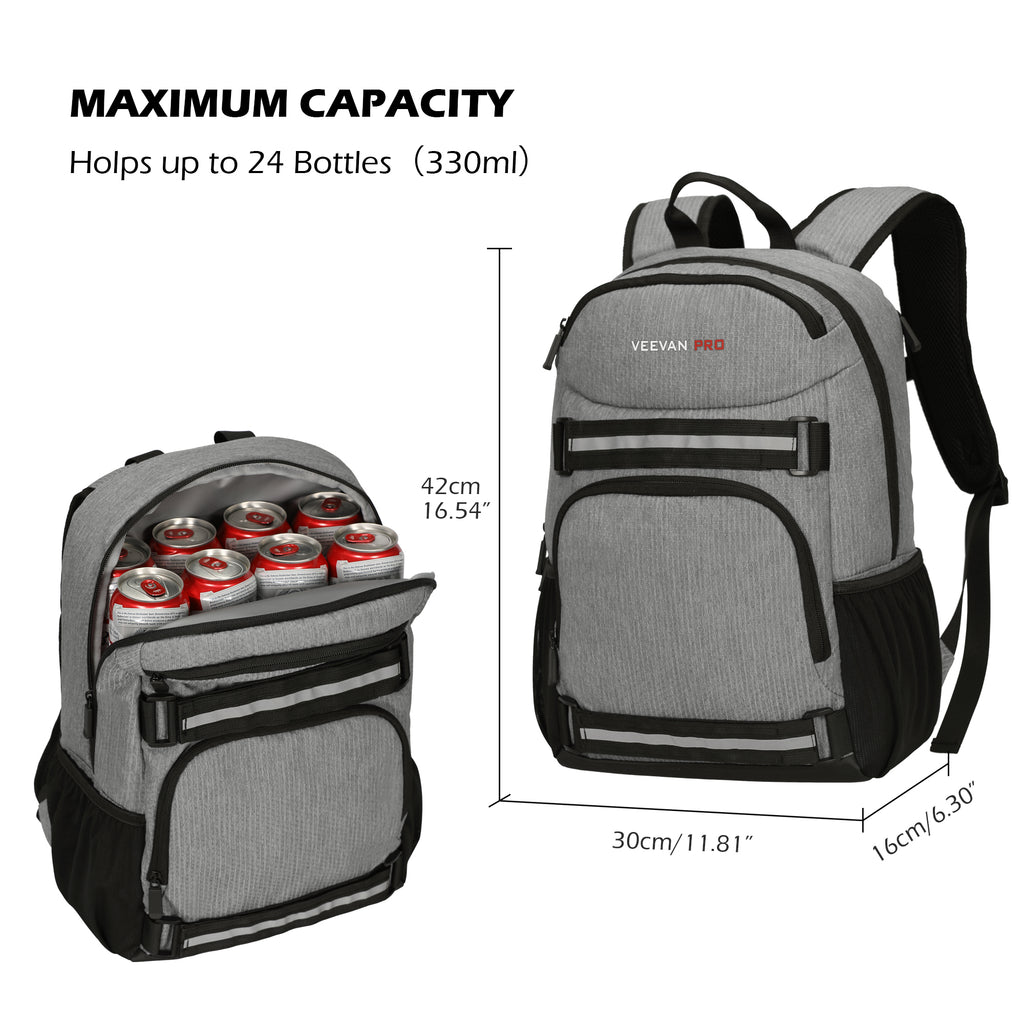 Veevanpro Cooler Backpack Insulated Backpack Cooler Lightweight Skateboard Backpack Leakproof Soft Cooler Bag 25 Cans