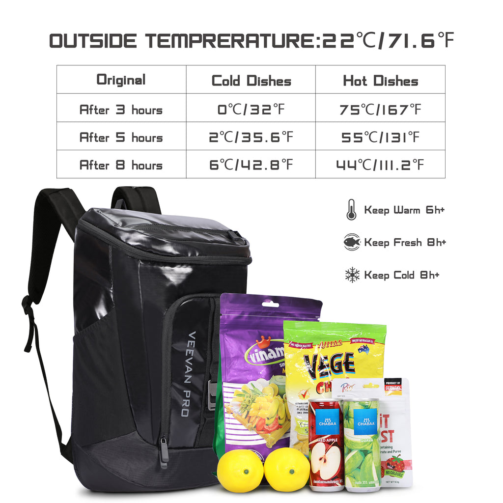 Veevanpro Cooler Backpack 28 Cans Insulated Backpack Cooler Leakproof Lightweight Cooler Bag Picnic Backpack