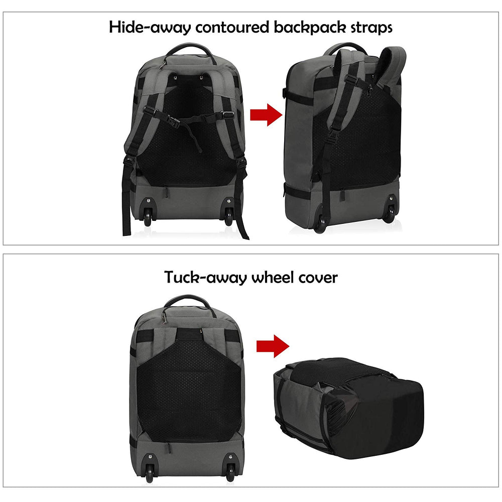 42L Rolling Wheeled Backpack Flight Approved Carry on Luggage Bag