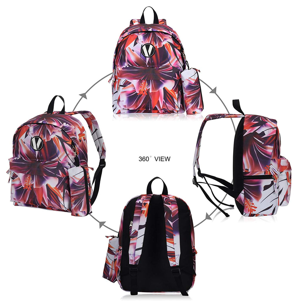 School Backpack Set with Pencil Case for Teens Boys Girls