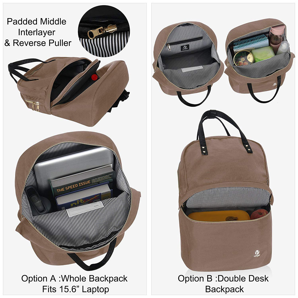 Convertible Double Desk Backpack Multifunction Daypack