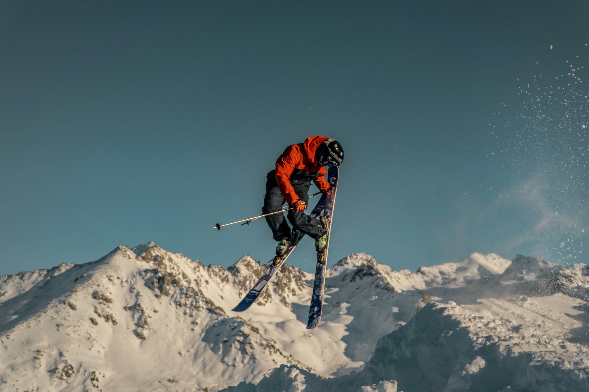 Whitedot rider, Will Tucker getting air time at Verbier