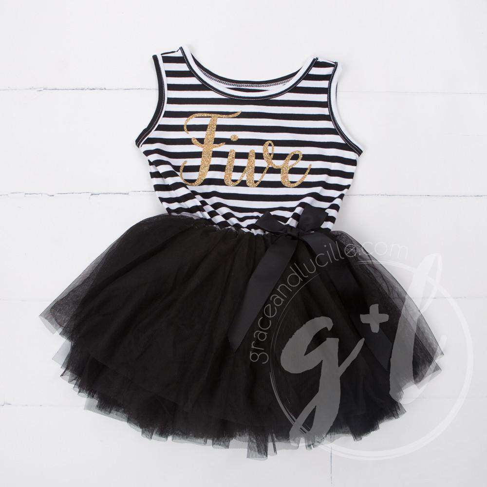 "5th Birthday Dress Gold Script ""FIVE"" Black Striped Sleeveless - Grace and Lucille"