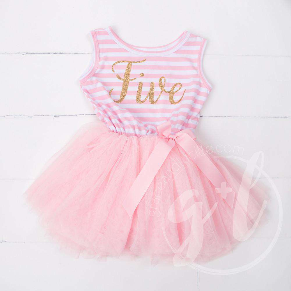 "5th Birthday Dress Gold Script ""FIVE"" Pink Striped Sleeveless - Grace and Lucille"