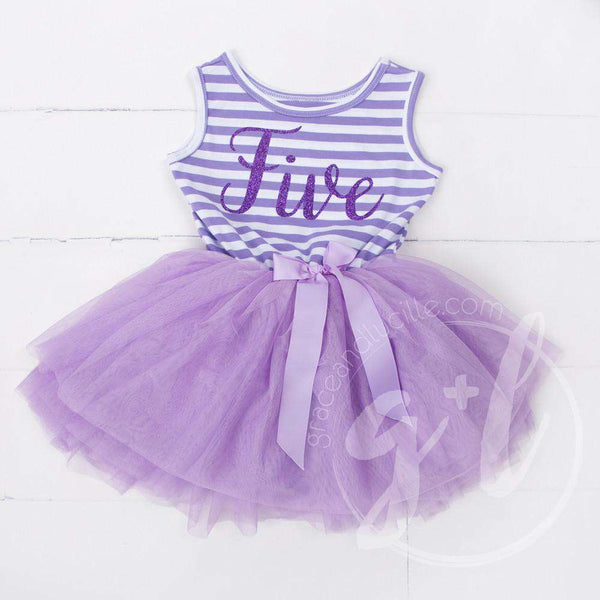 "5th Birthday Dress Purple Script ""FIVE"" Purple Striped Sleeveless - Grace and Lucille"