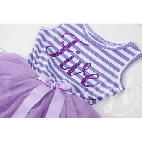 5th Birthday Dress Purple Script