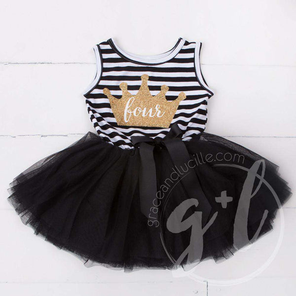 "4th Birthday Dress Gold Crown ""FOUR"" on Black Striped Sleeveless - Grace and Lucille"