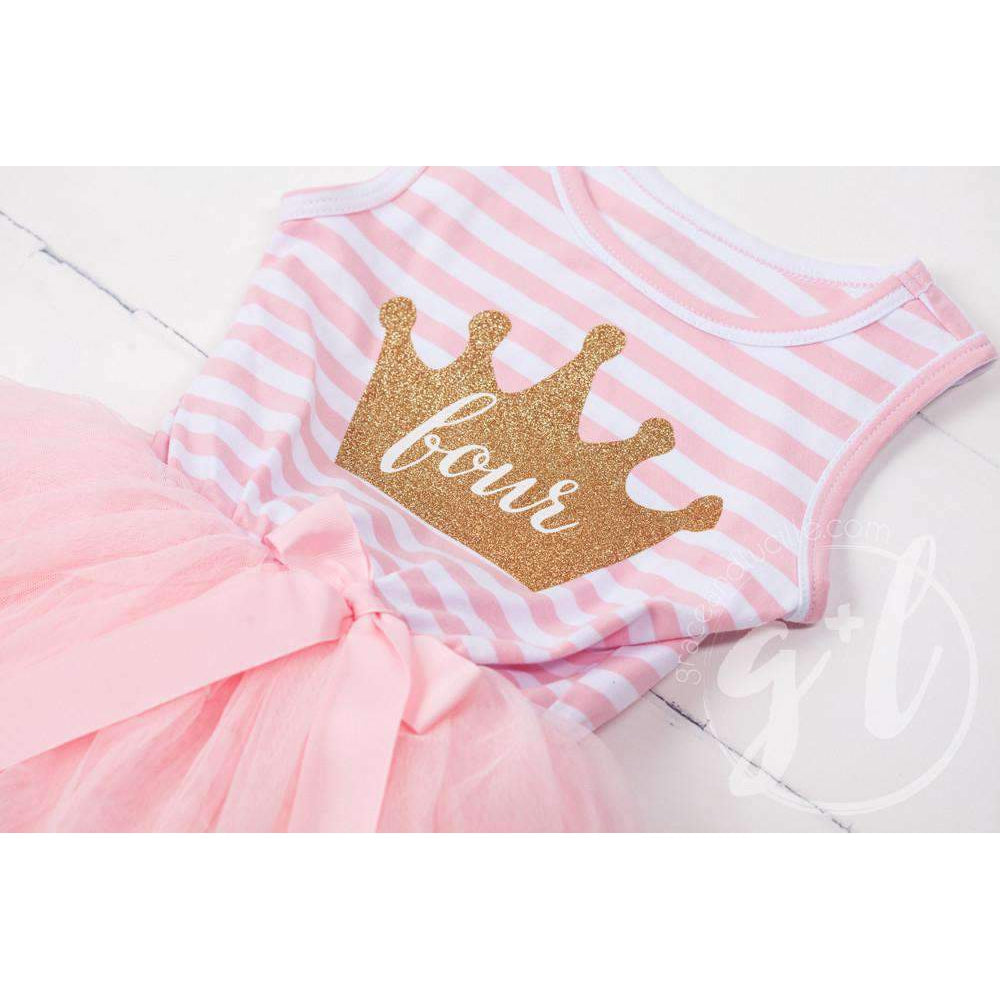 "4th Birthday Dress Gold Crown ""FOUR"" Pink Stripe Sleeveless - Grace and Lucille"