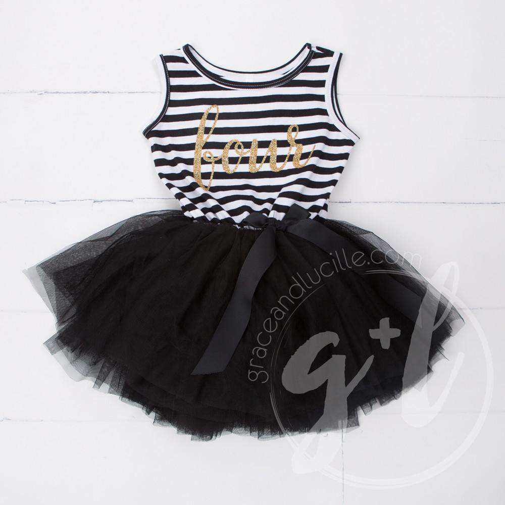 "4th Birthday Dress Gold Script ""FOUR"" Black Striped Sleeveless - Grace and Lucille"